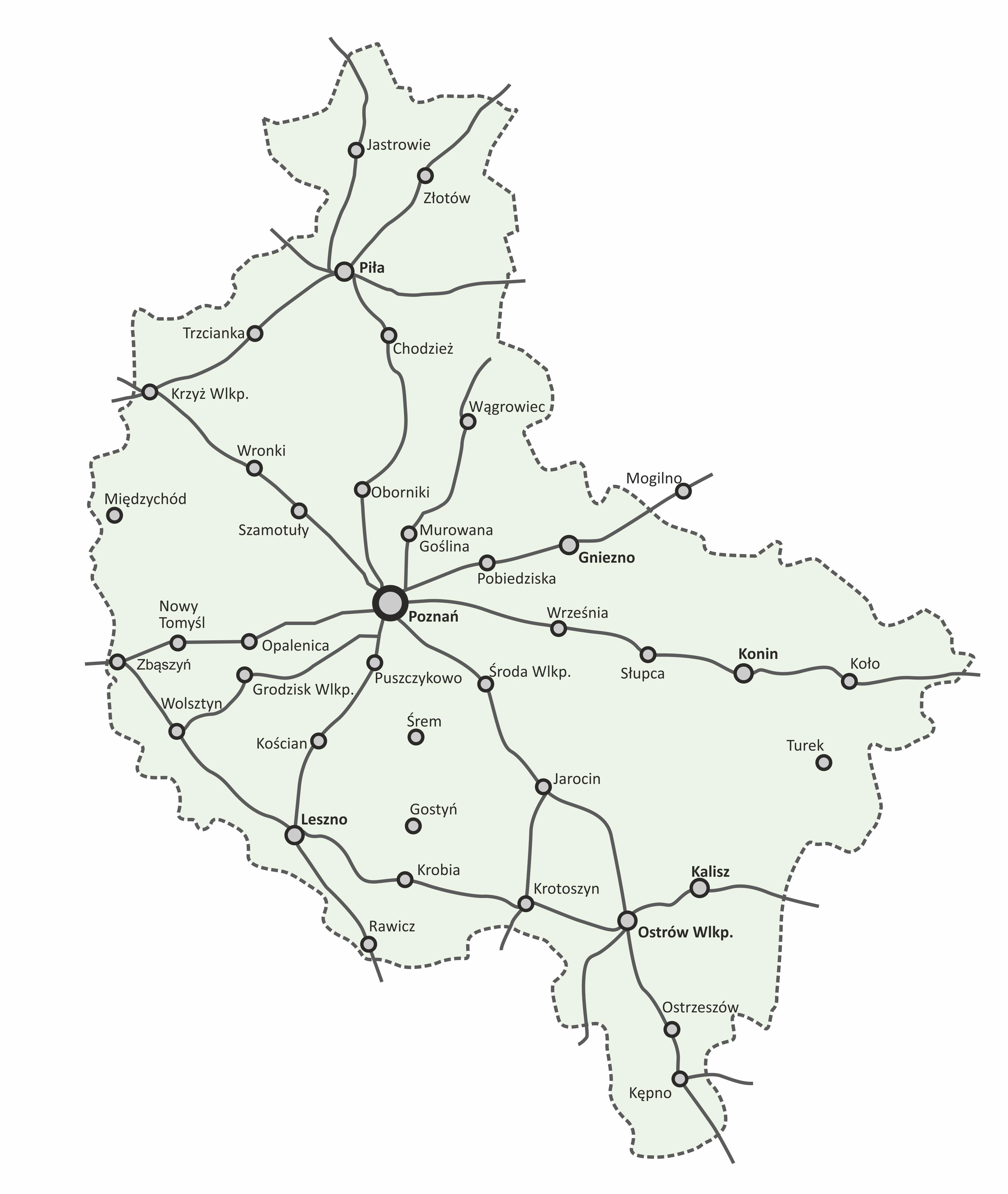 Sieć połączeń pasażerskich w Wielkopolsce